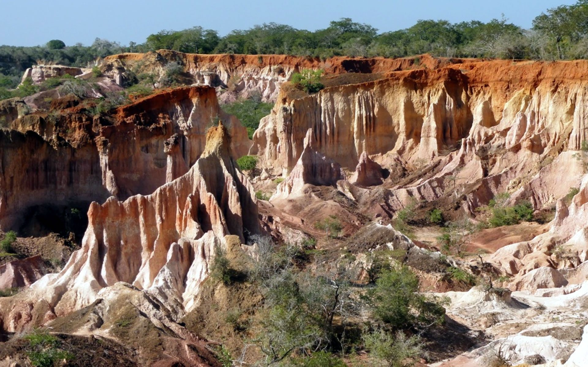 Marafa Depression, also known as the Devil's Kitchen or Nyari (The Place Broken by Itself), is an outstanding site of stalactites and stalagmites formed on limestone rock due to internal geological forces of denudation.
