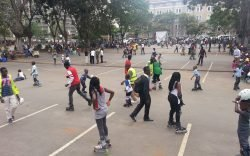 Something, as Paul Kamande observes, happens in Nairobi on Sundays as lovers of skating transform an ordinary parking lot into a skating rink.