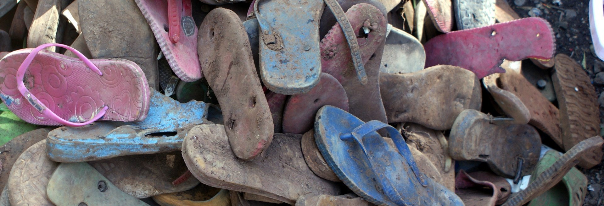 Dirty flip flops collected from various beaches is brought to Ocean Sole where its sorted and cleaned.