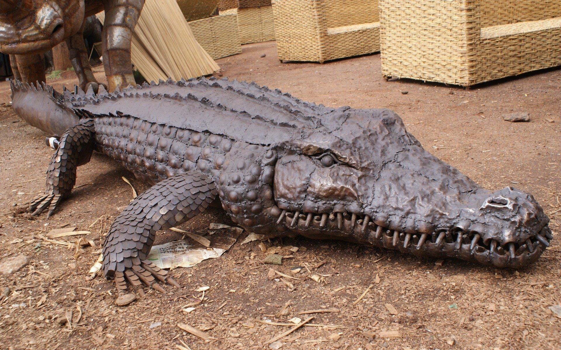 A life size statue of a nile crocodile by the Dagoretti Artisans