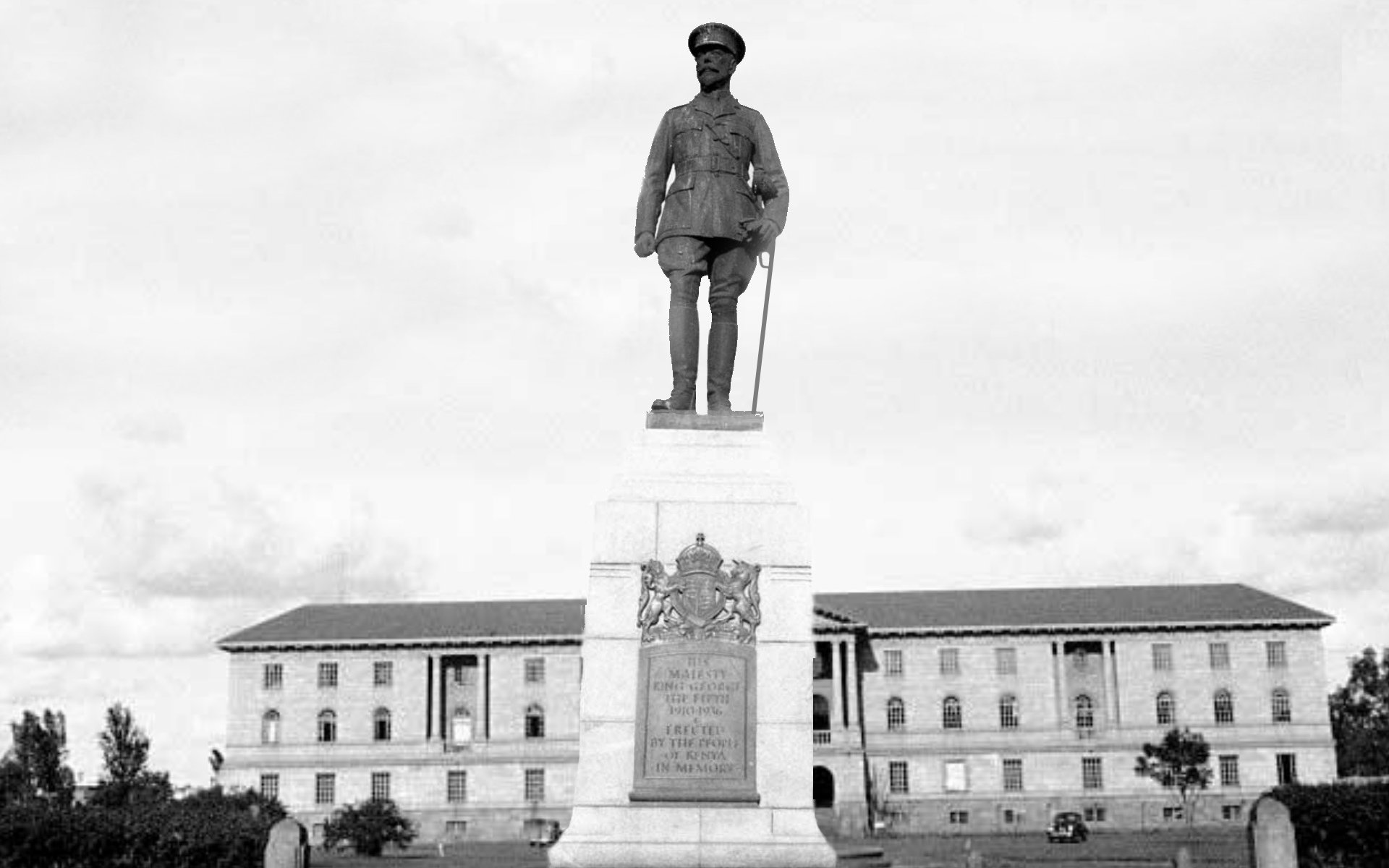 The statue of King George V used to stand on a pedestal at the junction of Queensway Road and Princess Elizabeth Way, now Uhuru Highway. It was later replaced with that of Mzee Kenyatta.