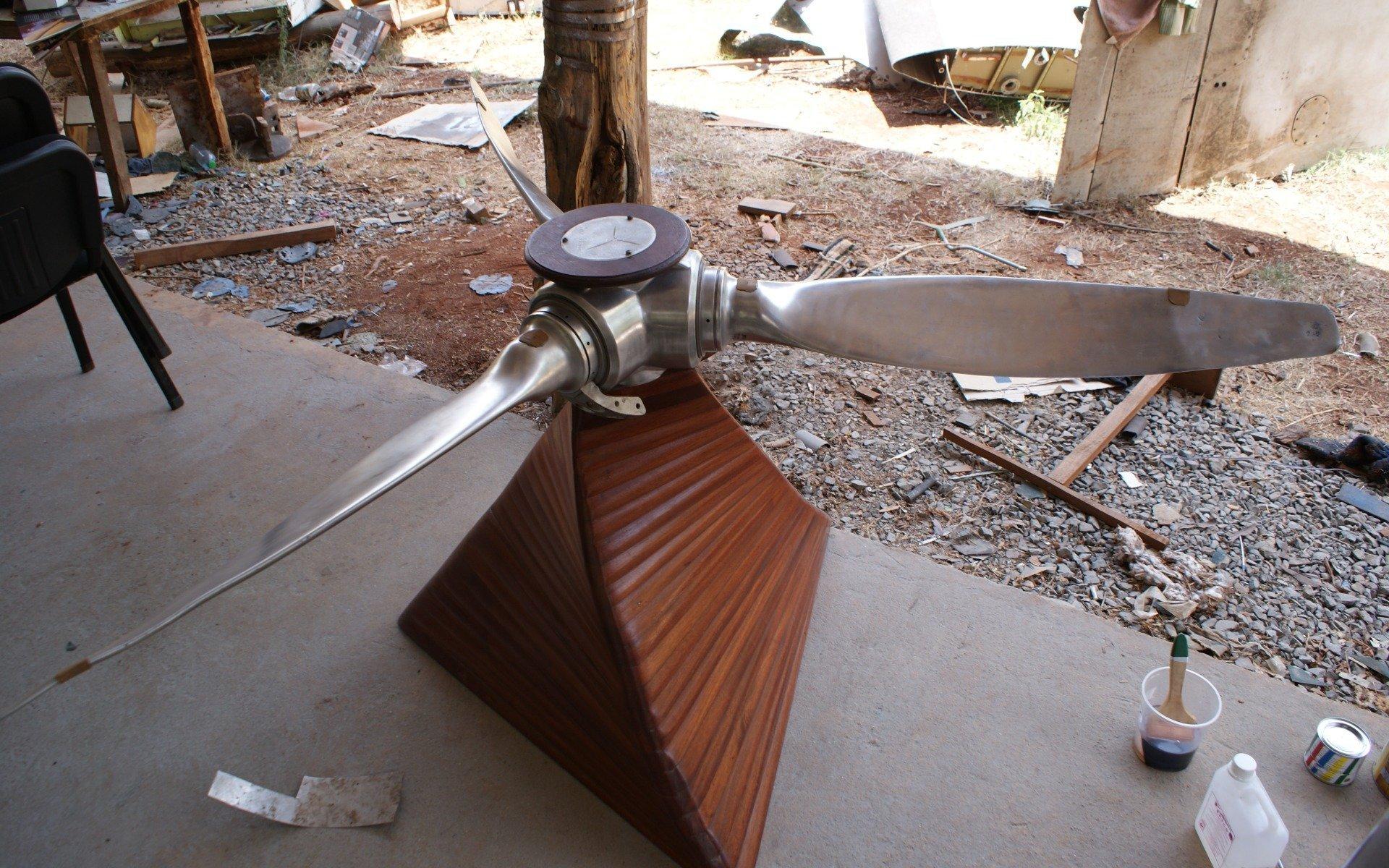 The hummingbird coffee table under construction at the Sky Decor Karen workshop.