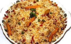 Biryani is a special rice dish indigenous to South Asia and the Middle East made with many different types of spices and may contain meat or not.