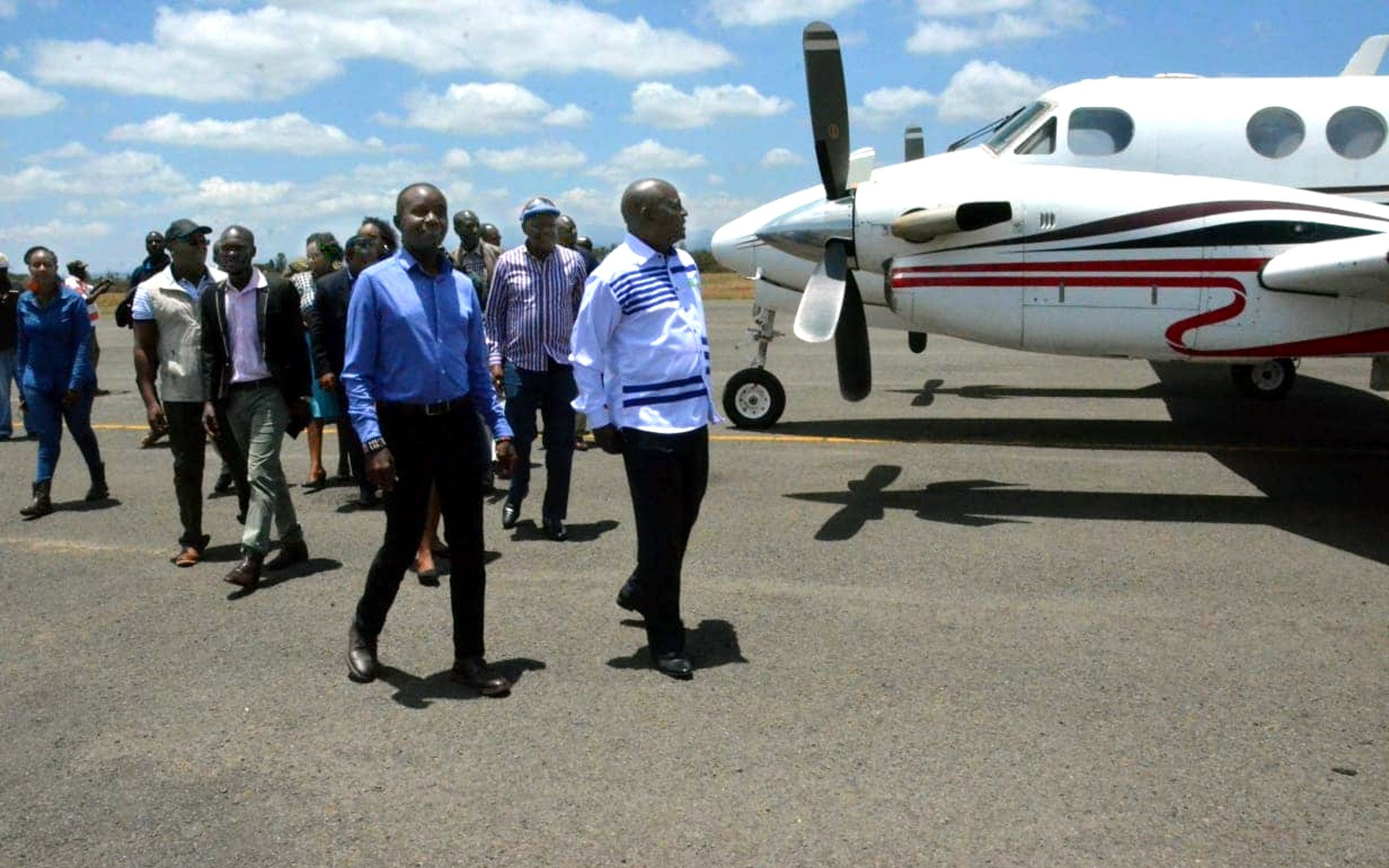 Nyaribo Airstrip which is not commonly used, except by aviation students, is about 15 minutes' drive from Nyeri town. With a 1.2 KM runway, the airstrip can accommodate even bigger planes.