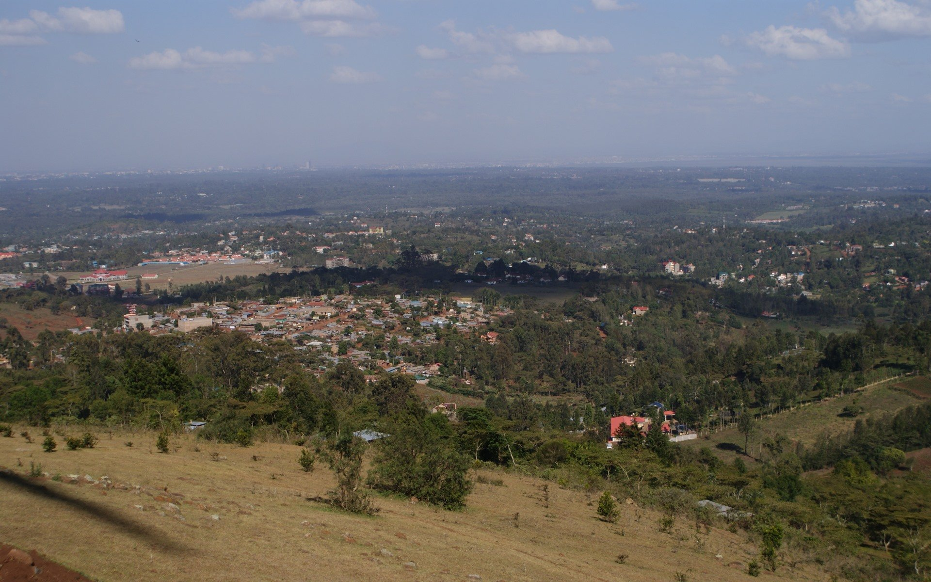 A view of Ngong town. You can start your hike from here.