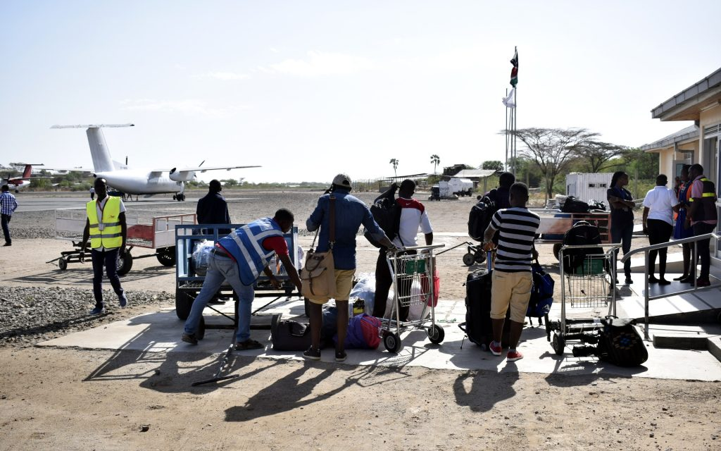On arrival at the Lodwar Airport, there was no baggage carousel to usher in our luggage into the exit area. Everything was deposited for our collecting pleasure outside the arrivals section!