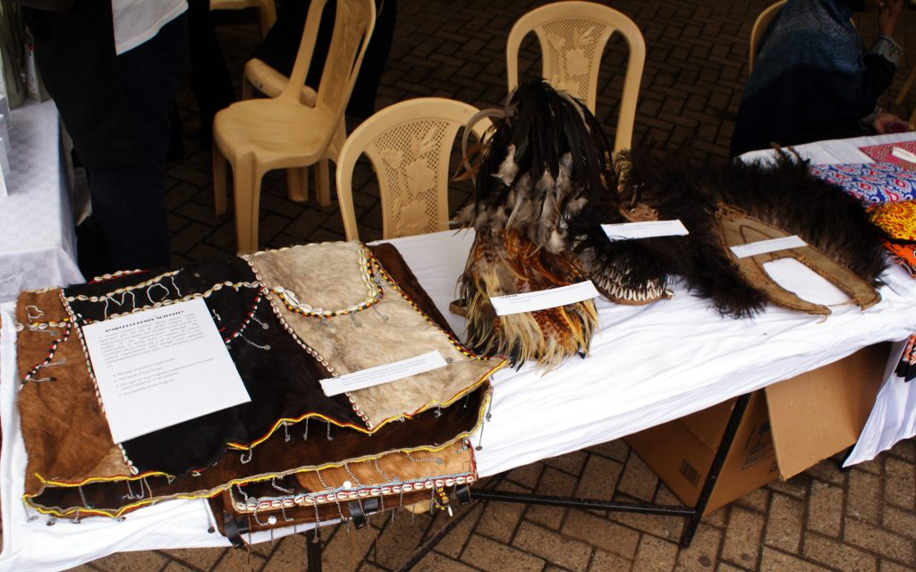African traditional leather products on display at the Nairobi International Cultural Festival.