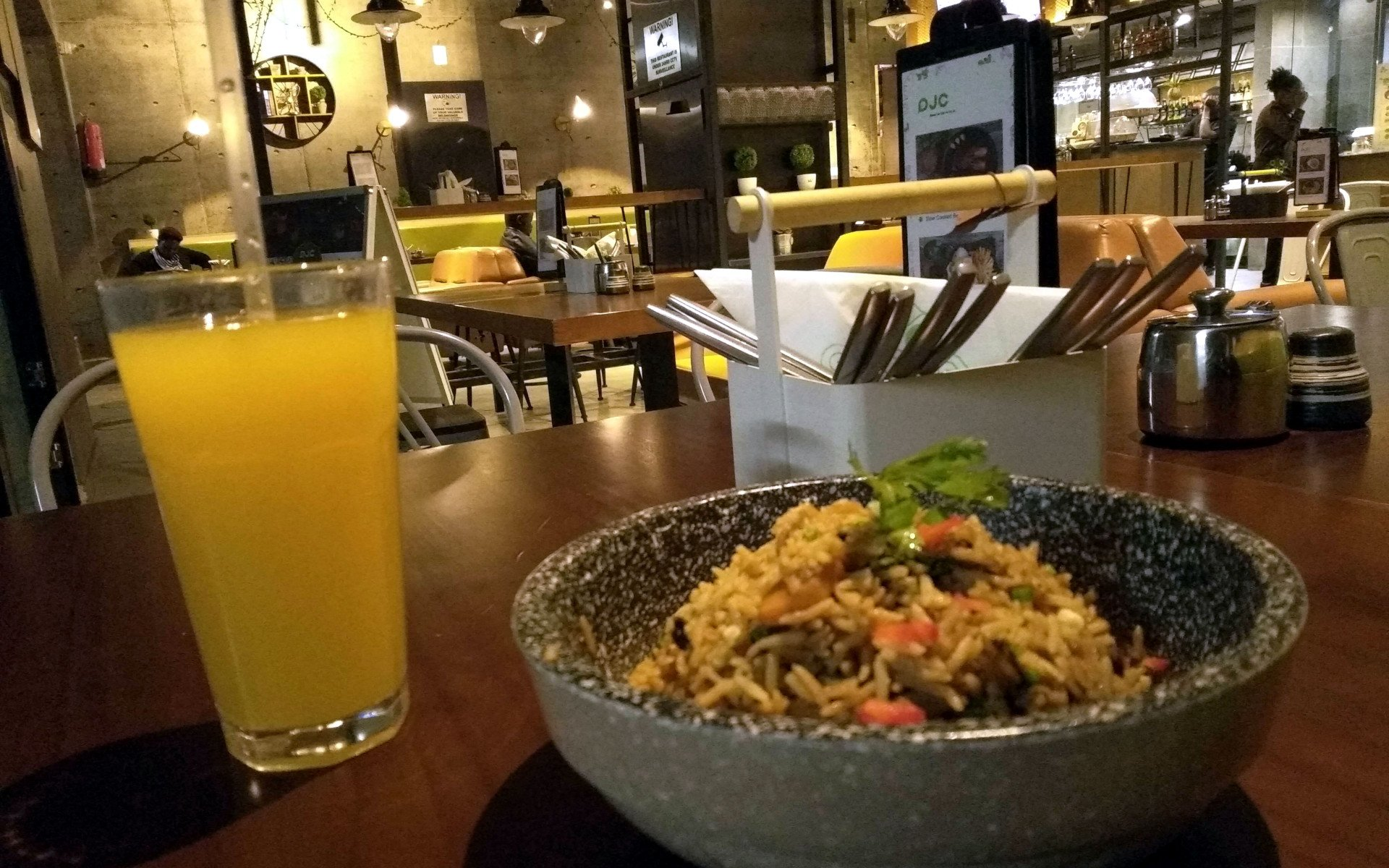 The DJC Kitchen sits on the ground floor of Emperor Plaza along Koinange Street. A Chinese restaurant with a rustic but comfy feel